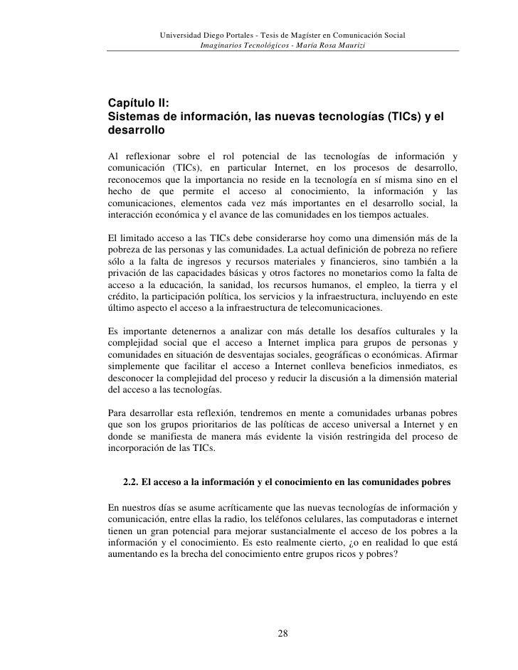Capítulo II: <br />Sistemas de información, las nuevas tecnologías (TICs) y el desarrollo<br />Al reflexionar sobre el rol...