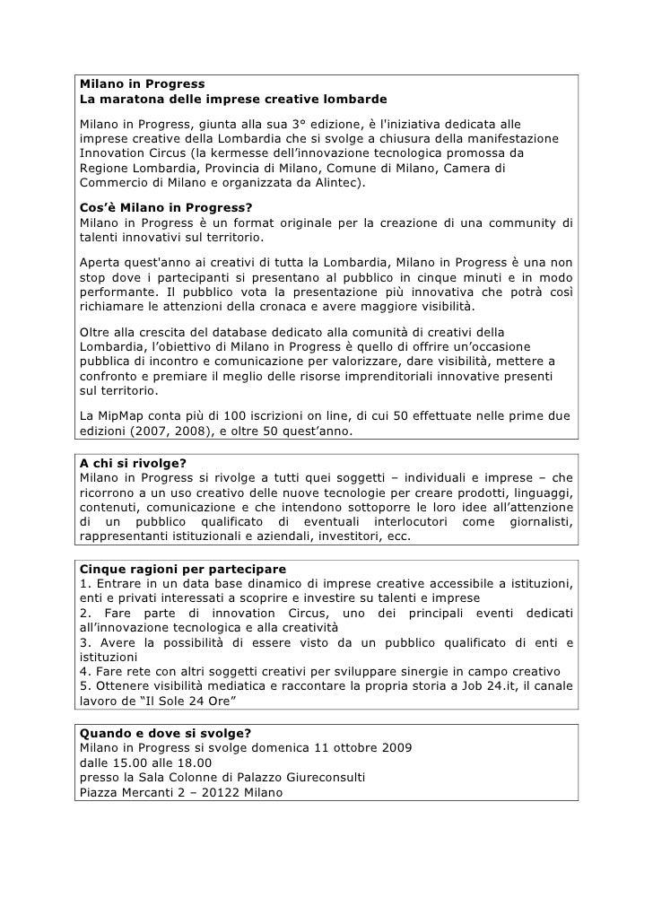Milano in Progress La maratona delle imprese creative lombarde  Milano in Progress, giunta alla sua 3° edizione, è l'inizi...