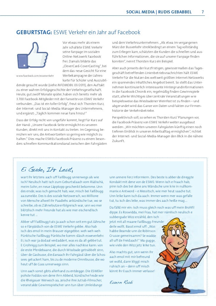 SoCIAL mEdIA   RudIS gEbAbbEL                          7GEBURTSTAG: ESWE Verkehr ein Jahr auf Facebook                    ...