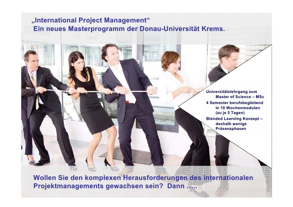 """International Project Management""  Ein neues Masterprogramm der Donau-Universität Krems.                                 ..."