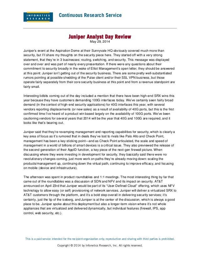 Infonetics Research: Juniper Analyst Day Review