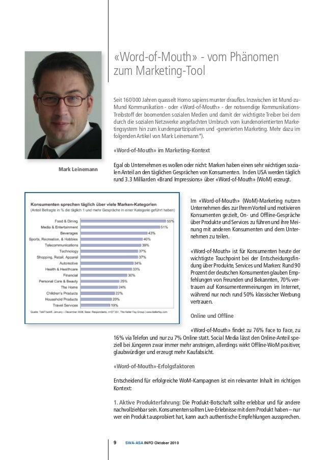 Mark LeinemannIm «Word-of-Mouth» (WoM)-Marketing nutzenUnternehmen dies zur IhremVorteil und motivierenKonsumenten gezielt...