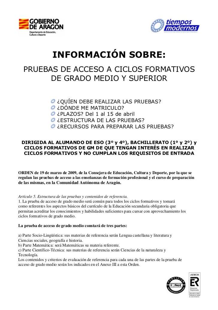 Información De Las Pruebas De Acceso A Cfgm Y Cfgs
