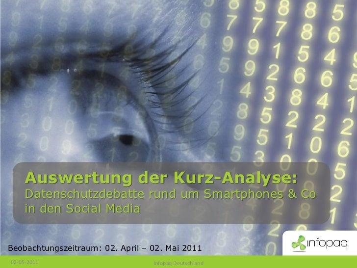 Auswertung der Kurz-Analyse:     Datenschutzdebatte rund um Smartphones & Co     in den Social MediaBeobachtungszeitraum: ...