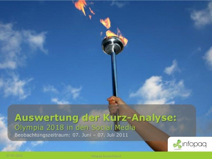 Auswertung der Kurz-Analyse:     Olympia 2018 in den Social Media     Beobachtungszeitraum: 07. Juni – 07. Juli 201107-07-...