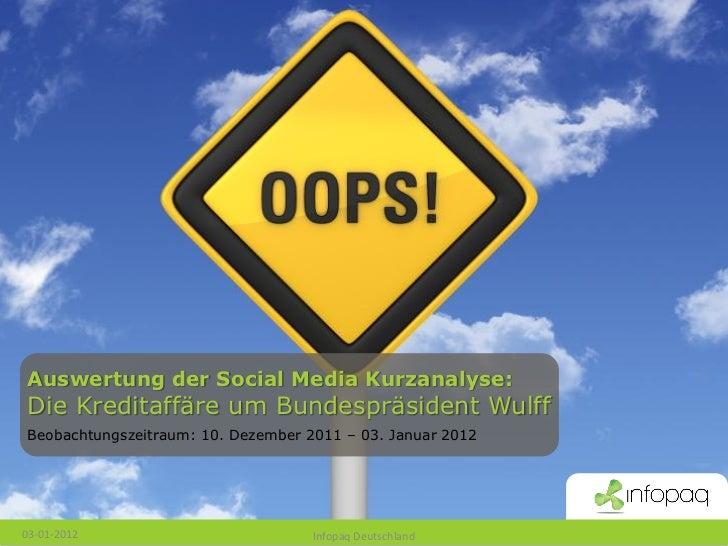 Auswertung der Social Media Kurzanalyse: Die Kreditaffäre um Bundespräsident Wulff Beobachtungszeitraum: 10. Dezember 2011...