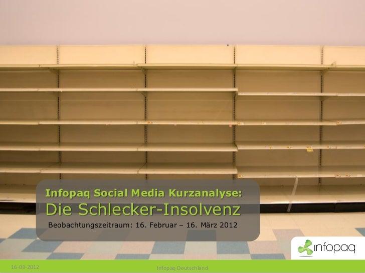Infopaq Social Media Kurzanalyse:             Die Schlecker-Insolvenz             Beobachtungszeitraum: 16. Februar – 16. ...