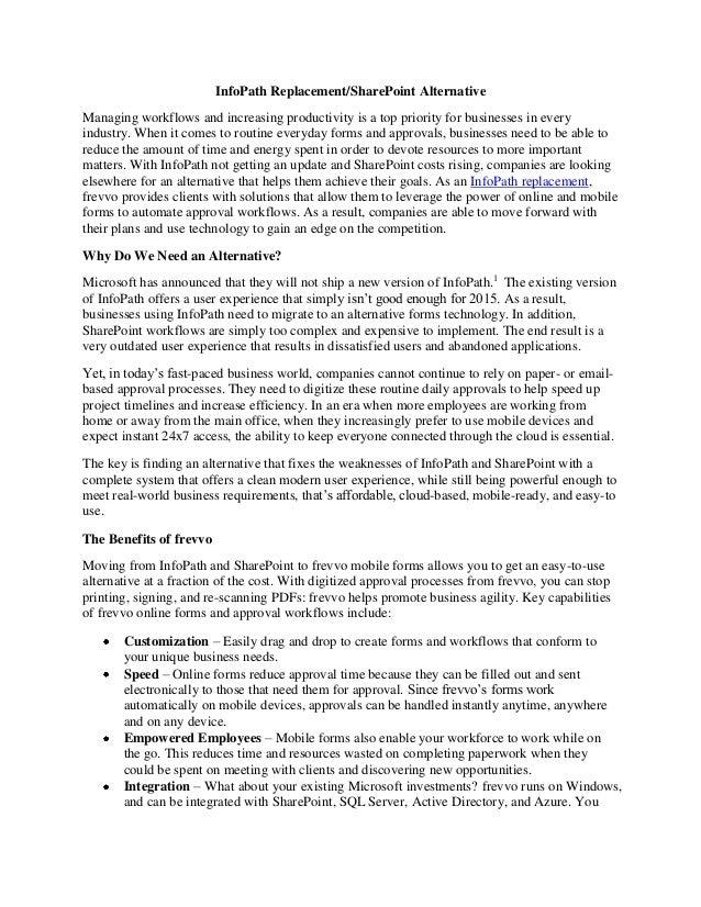 InfoPath Replacement/SharePoint Alternative