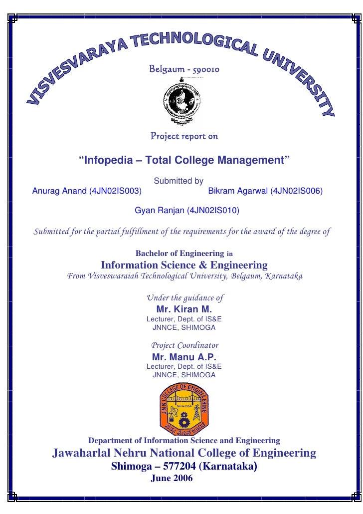 "Belgaum - 590010                                       Project report on               ""Infopedia – Total College Manageme..."