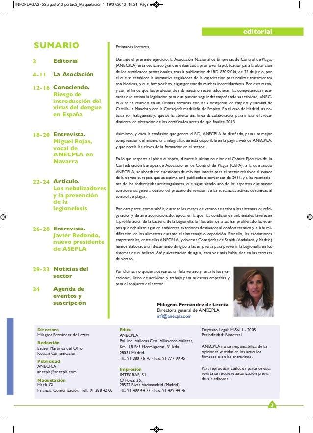 Revista Oficial ANECPLA: Infoplagas. Nº 52  AGOS 2013 Slide 3