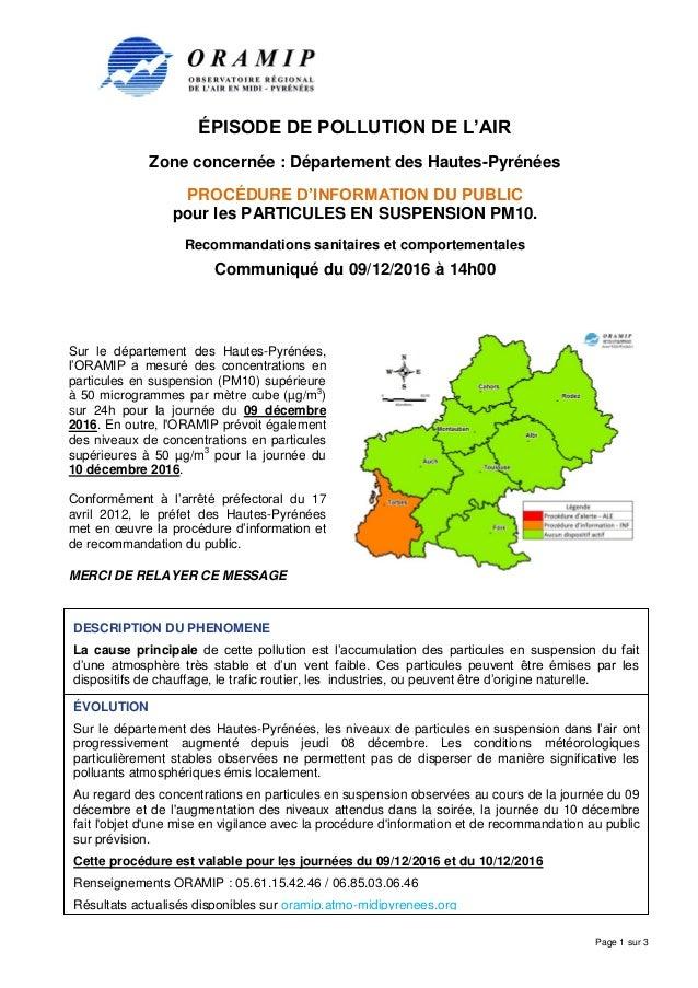 ÉPISODE DE POLLUTION DE L'AIR Zone concernée : Département des Hautes-Pyrénées PROCÉDURE D'INFORMATION DU PUBLIC pour les ...