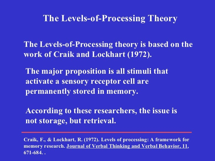 a study on recreating craik and lockharts levels of processing theory Although the levels of processing framework have evolved over its  after  extensive research and criticism, the authors added several  according to  tulving (2002), lop is a framework, not a theory  craik and lockhart (1972)  stated that in the encoding stage there is a series of processing hierarchies.