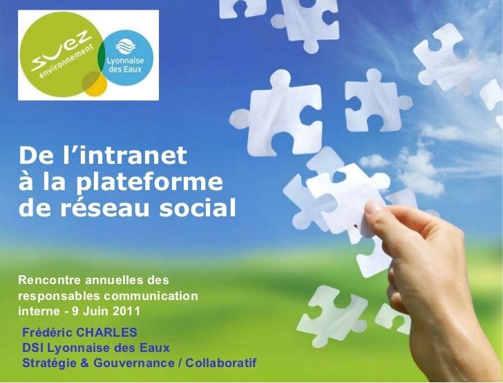 11/06/11 De l'intranet à la plateforme de réseau social Rencontre annuelles des responsables communication interne - 9 Jui...