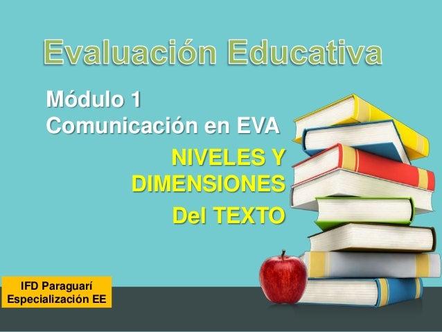 Módulo 1       Comunicación en EVA                 NIVELES Y              DIMENSIONES                 Del TEXTO  IFD Parag...