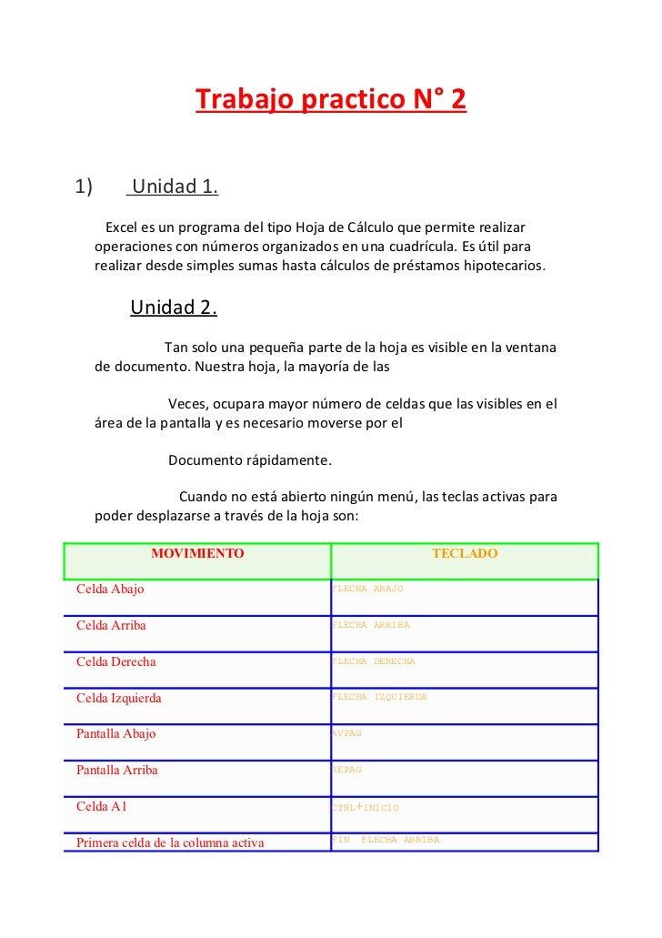 Trabajo practico N° 21)         Unidad 1.       Excel es un programa del tipo Hoja de Cálculo que permite realizar     ope...