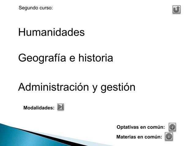 Humanidades  Geografía e historia  Administración y gestión  Materias en común:  Modalidades:  Optativas en común:  Segund...