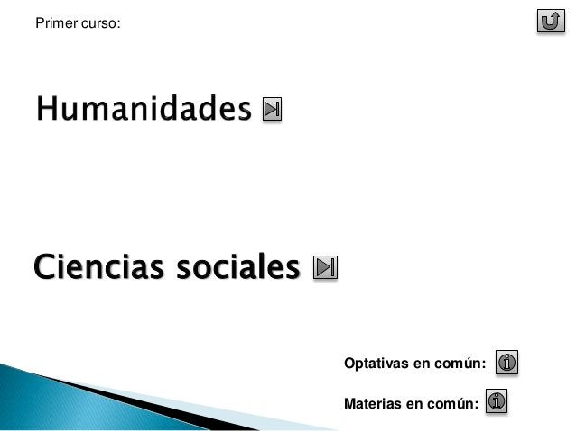Ciencias sociales  Optativas en común:  Materias en común:  Primer curso: