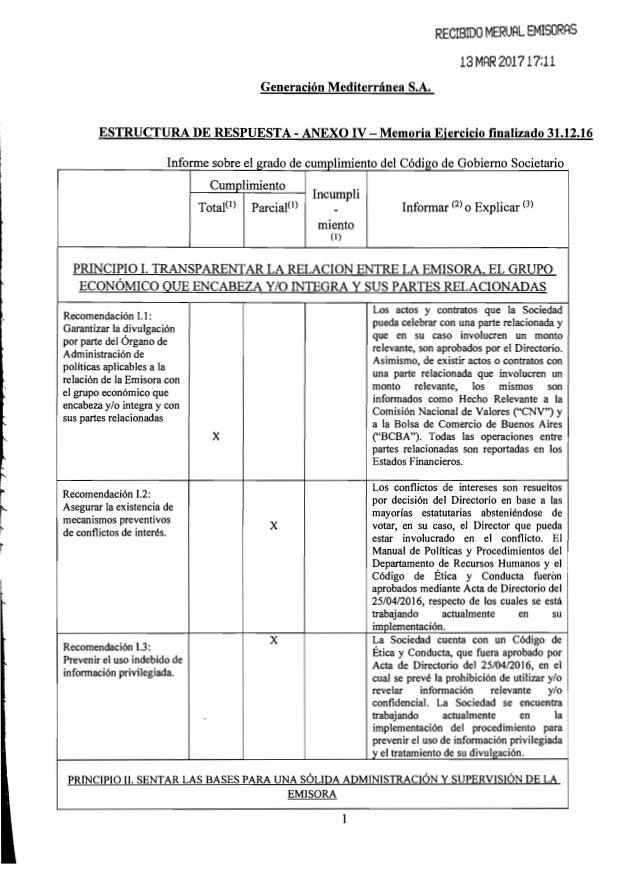 Informe Contable De Generación Mediterránea