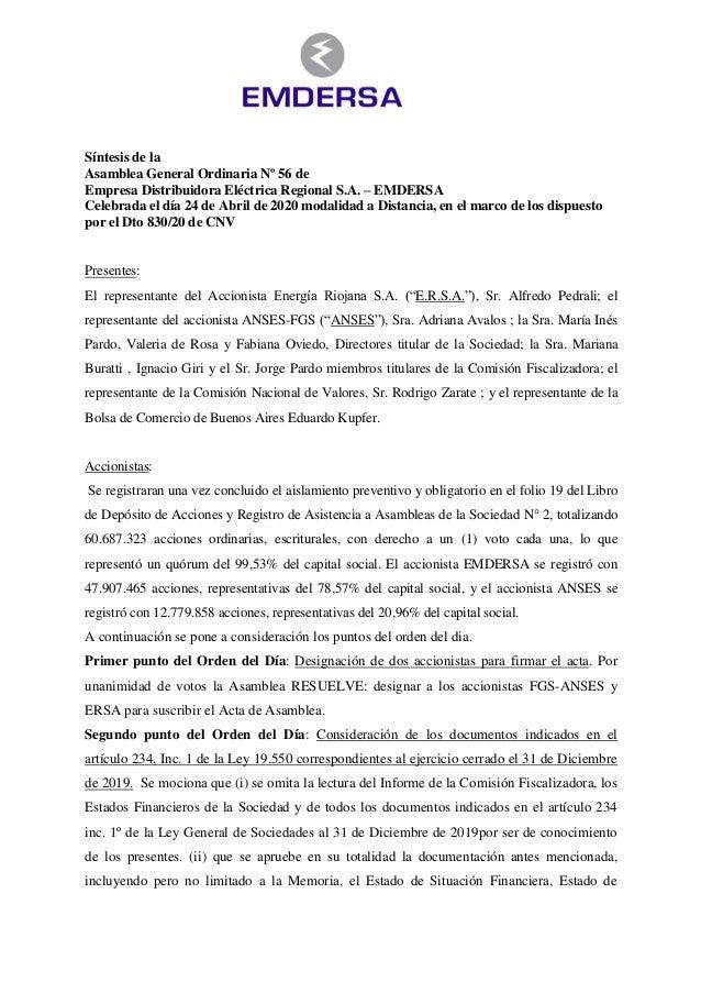 Síntesis de la Asamblea General Ordinaria Nº 56 de Empresa Distribuidora Eléctrica Regional S.A. – EMDERSA Celebrada el dí...