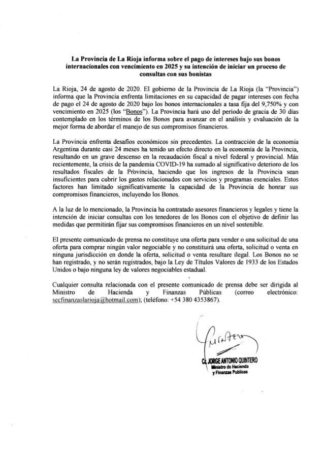 La Rioja extiende por 30 días el pago de los intereses del Bono Verde