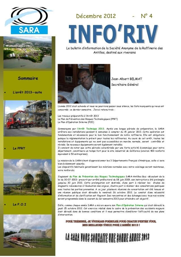Décembre 2012                                        -        N° 4                                 Le bulletin d'informati...