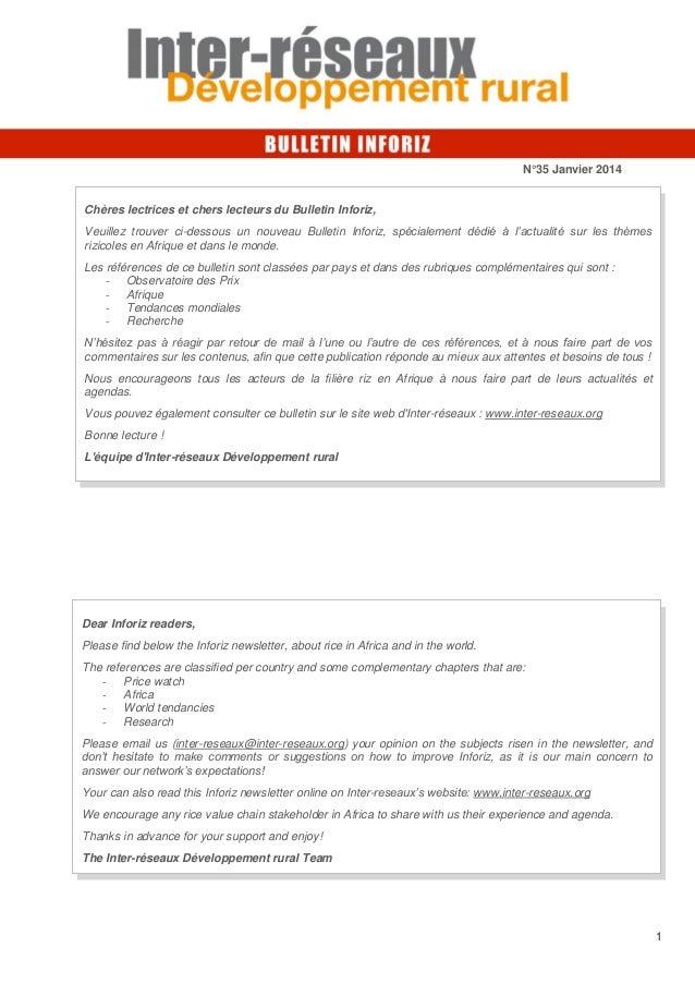 N°35 Janvier 2014  Chères lectrices et chers lecteurs du Bulletin Inforiz, Veuillez trouver ci-dessous un nouveau Bulletin...