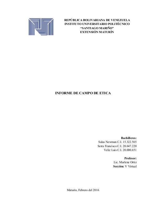 "REPÚBLICA BOLIVARIANA DE VENEZUELA INSTITUTO UNIVERSITARIO POLITÉCNICO ""SANTIAGO MARIÑO"" EXTENSIÓN MATURÍN INFORME DE CAMP..."