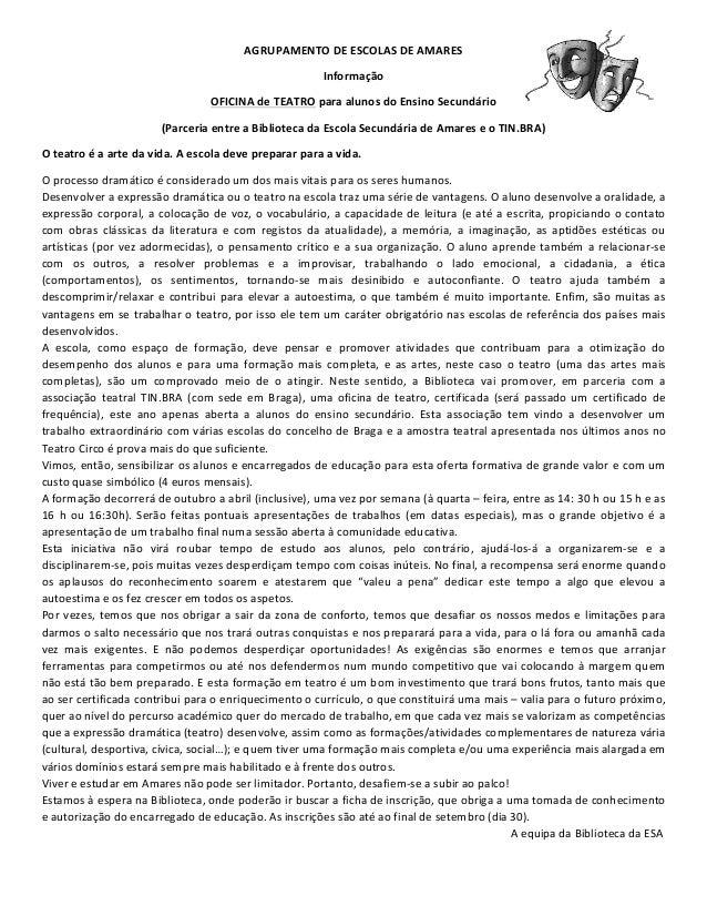 AGRUPAMENTO  DE  ESCOLAS  DE  AMARES   Informação     OFICINA  de  TEATRO  para  alunos  do  Ens...