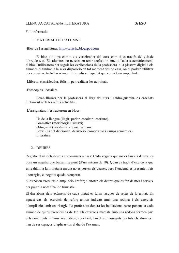 LLENGUA CATALANA I LITERATURA                                                   3r ESOFull informatiu    1. MATERIAL DE L'...