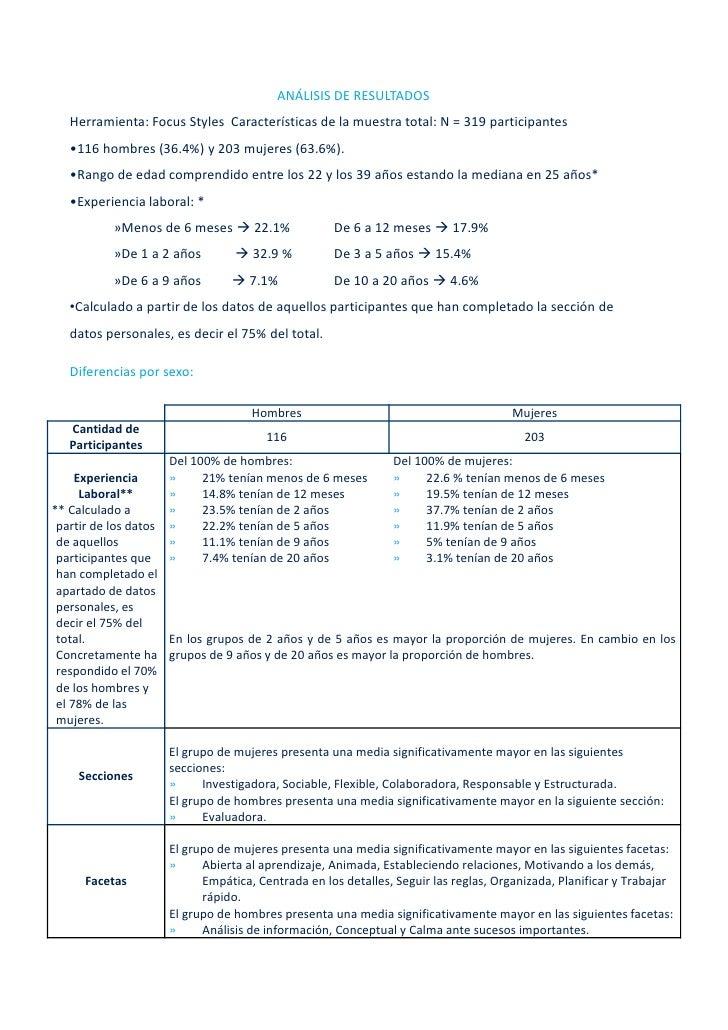 ANÁLISISDERESULTADOS    Herramienta:FocusStyles Característicasdelamuestratotal:N=319participantes    •116hom...