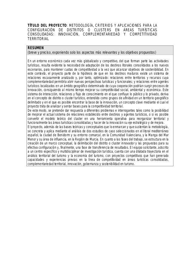 TÍTULO DEL PROYECTO: METODOLOGÍA, CRITERIOS Y APLICACIONES PARA LA CONFIGURACIÓN DE DISTRITOS O CLUSTERS EN ÁREAS TURÍSTIC...
