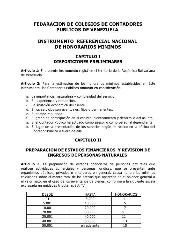 FEDARACION DE COLEGIOS DE CONTADORES                 PUBLICOS DE VENEZUELA             INSTRUMENTO REFERENCIAL NACIONAL   ...