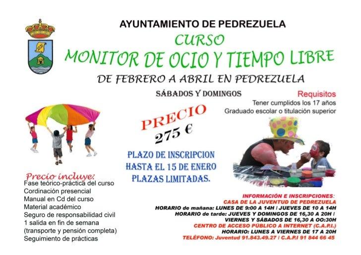 Ayuntamiento de Pedrezuela                                   CURSO MONITOR DE OCIO Y TIEMPO LIBRE                         ...