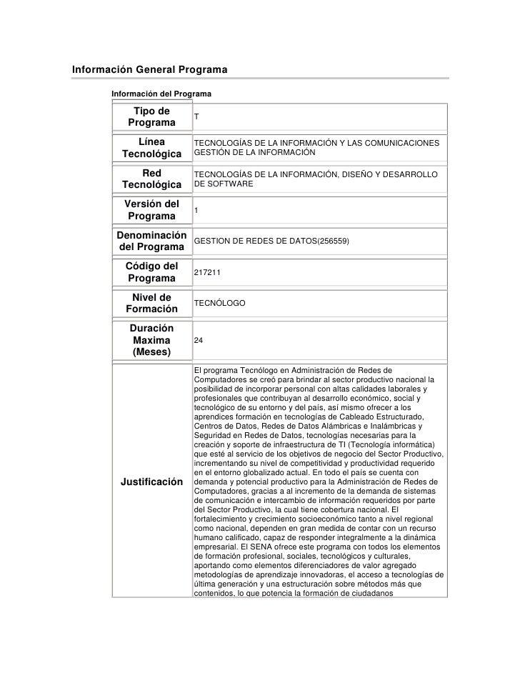 Información General Programa <br />Información del ProgramaTipo de ProgramaTLínea TecnológicaTECNOLOGÍAS DE LA INFORMACIÓN...