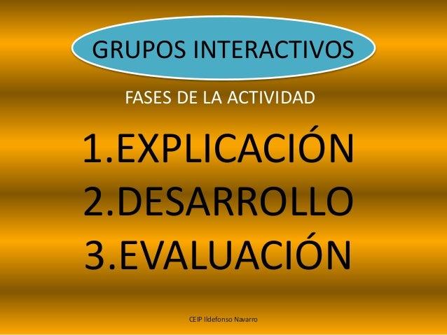 GRUPOS INTERACTIVOS FASES DE LA ACTIVIDAD 1.EXPLICACIÓN 2.DESARROLLO 3.EVALUACIÓN CEIP Ildefonso Navarro