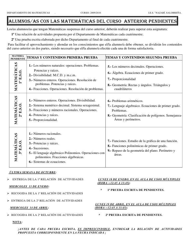 """DEPARTAMENTO DE MATEMÁTICAS          .                  CURSO: 2009/2010                                    I.E.S. """"NAZARÍ..."""