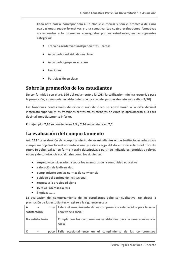 """Unidad Educativa Particular Universitaria """"La Asunción""""        Cada nota parcial corresponderá a un bloque curricular y se..."""