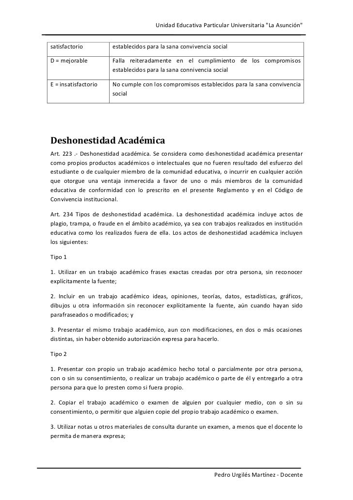 """Unidad Educativa Particular Universitaria """"La Asunción""""satisfactorio          establecidos para la sana convivencia social..."""