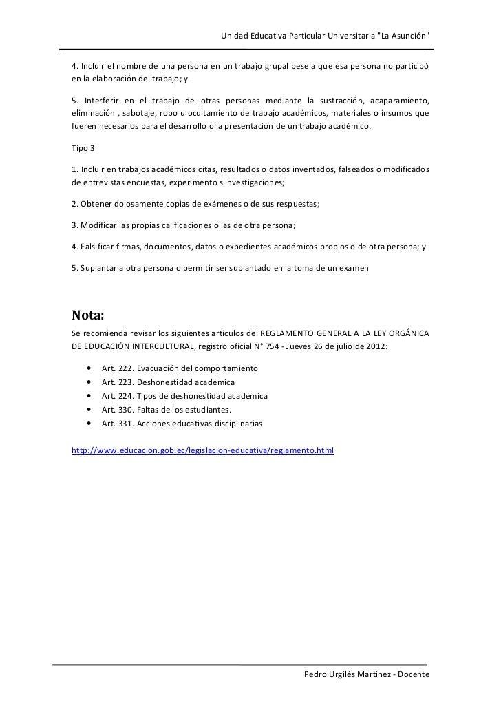"""Unidad Educativa Particular Universitaria """"La Asunción""""4. Incluir el nombre de una persona en un trabajo grupal pese a que..."""