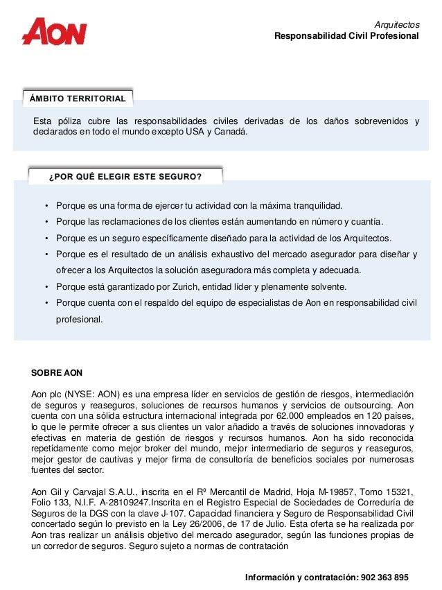 Informaci n seguro responsabilidad civil arquitectos aon for Seguro responsabilidad civil autonomos obligatorio