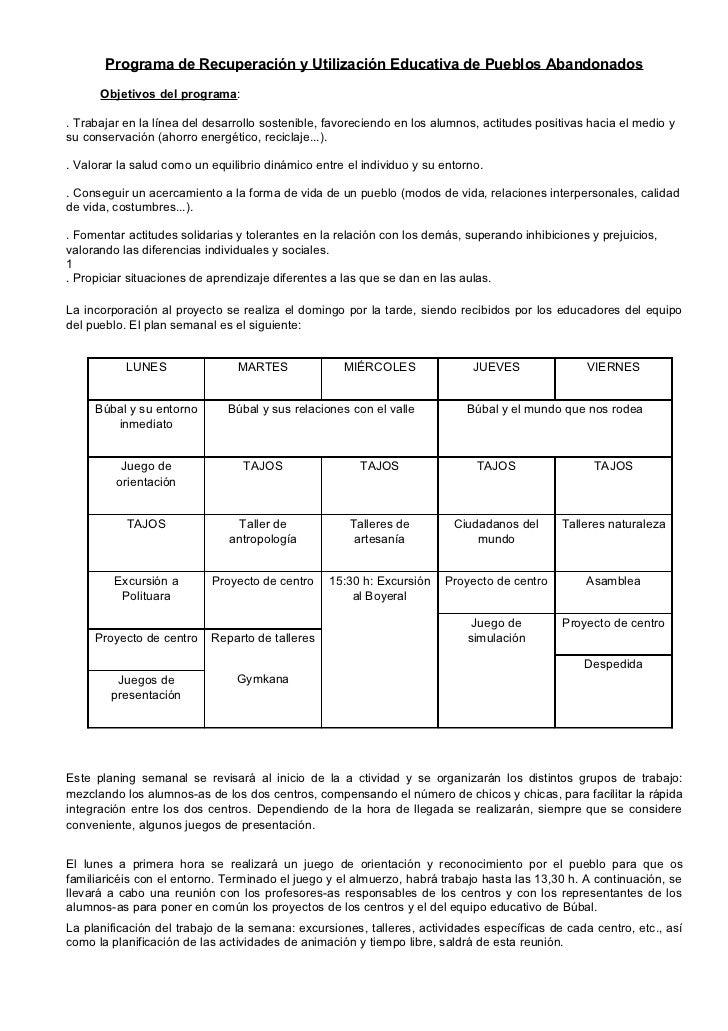 Información sobre el proyecto en búbal