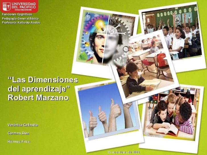 """"""" Las Dimensiones del aprendizaje"""" Robert Marzano Verónica Callealta Carmen Díaz Hermes Price Funciones Cognitivas Pedagog..."""