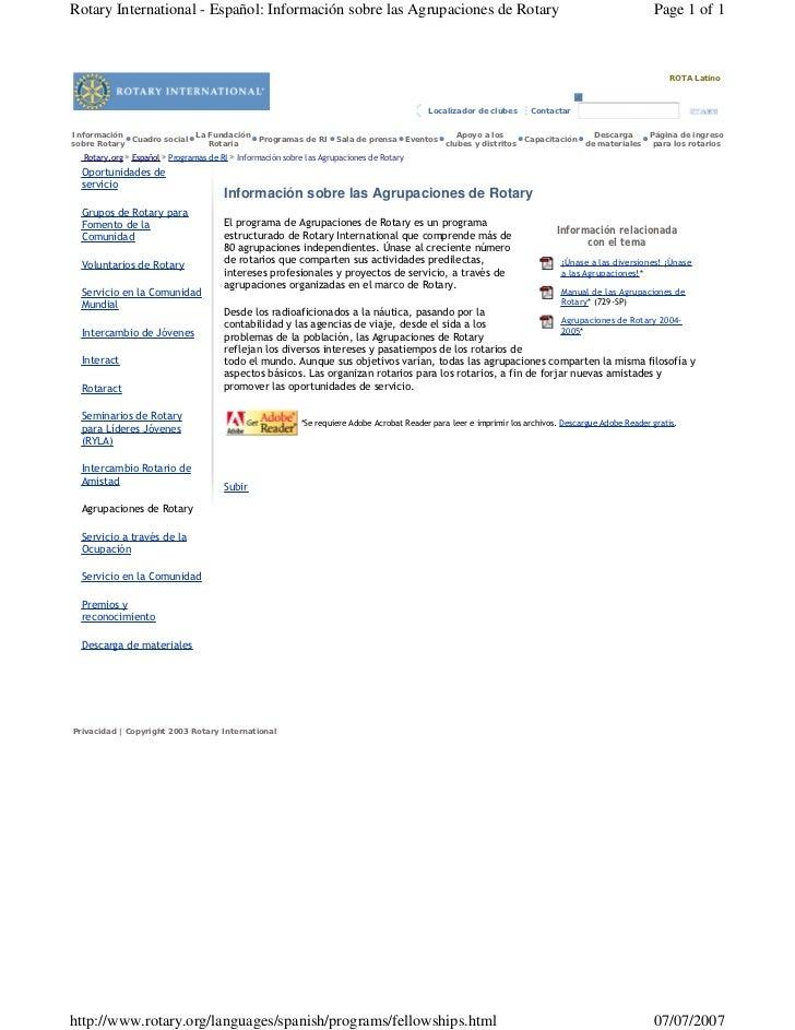 Rotary International - Español: Información sobre las Agrupaciones de Rotary                                              ...