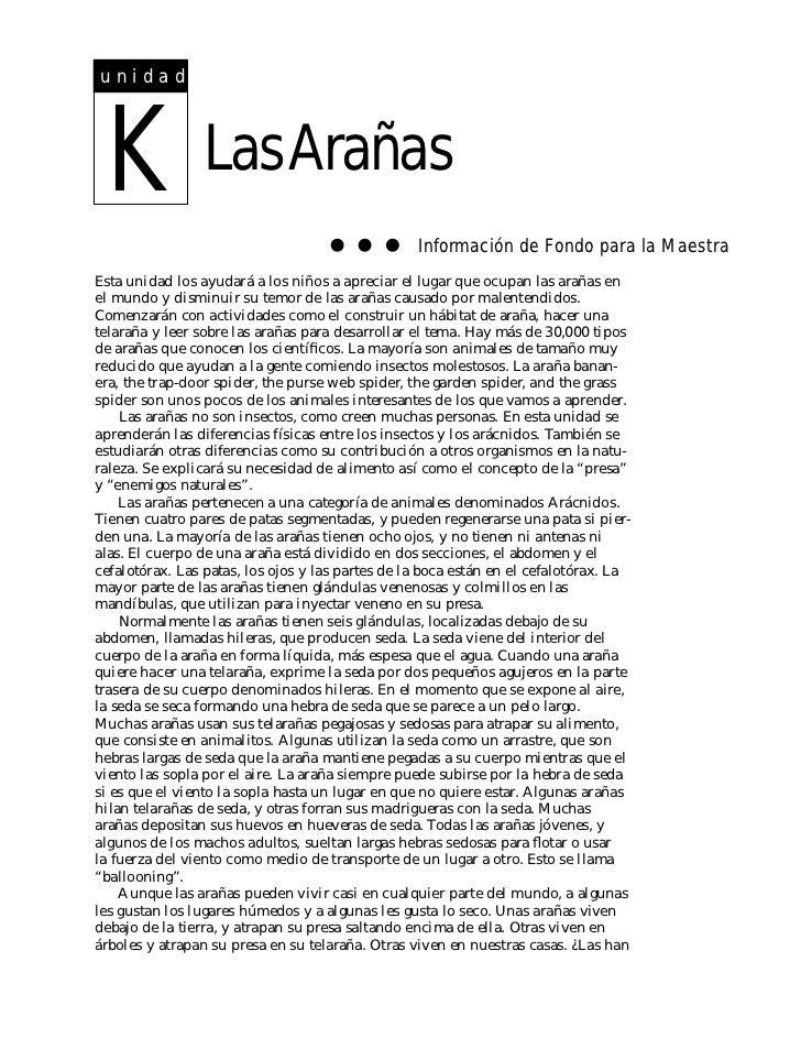 unidad K               Las Arañas                                                  Información de Fondo para la MaestraEst...