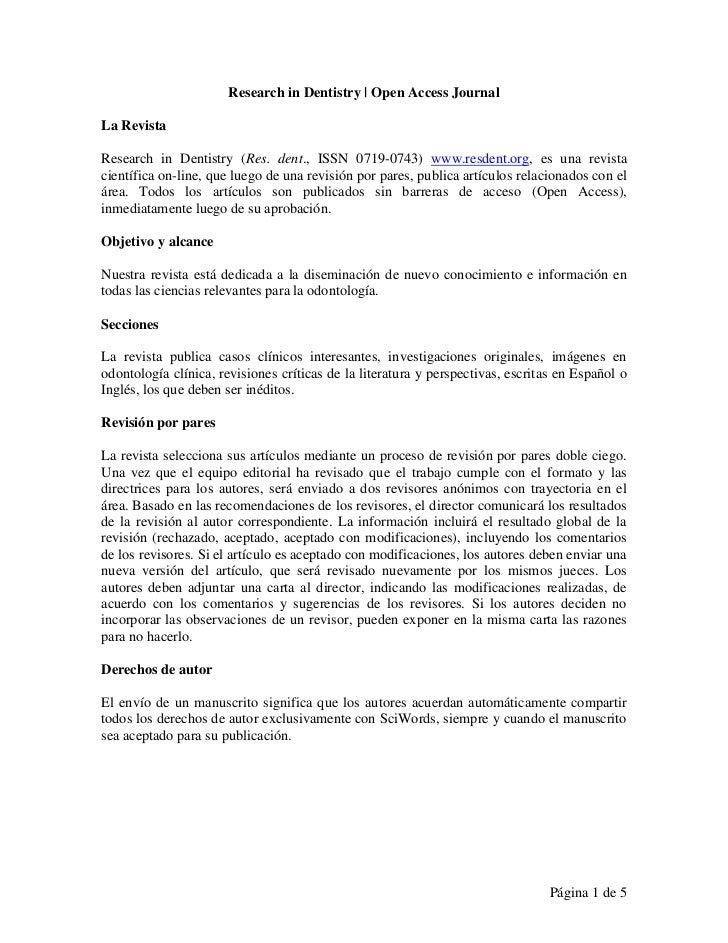 Research in Dentistry | Open Access JournalLa RevistaResearch in Dentistry (Res. dent., ISSN 0719-0743) www.resdent.org, e...