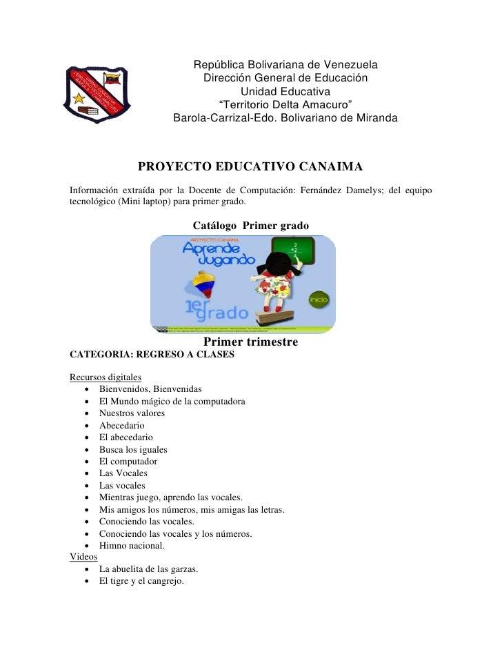 República Bolivariana de Venezuela                              Dirección General de Educación                            ...