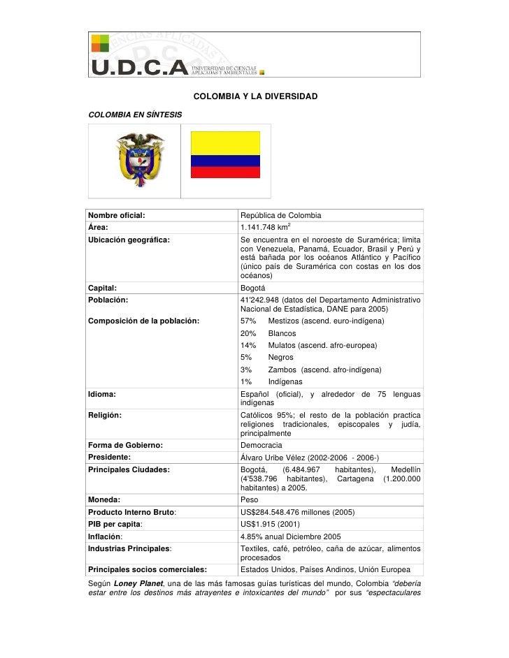 COLOMBIA Y LA DIVERSIDAD  COLOMBIA EN SÍNTESIS     Nombre oficial:                         República de Colombia Área:    ...