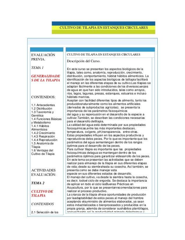 Informacion del curso tilapia for Construccion de estanques circulares para tilapia