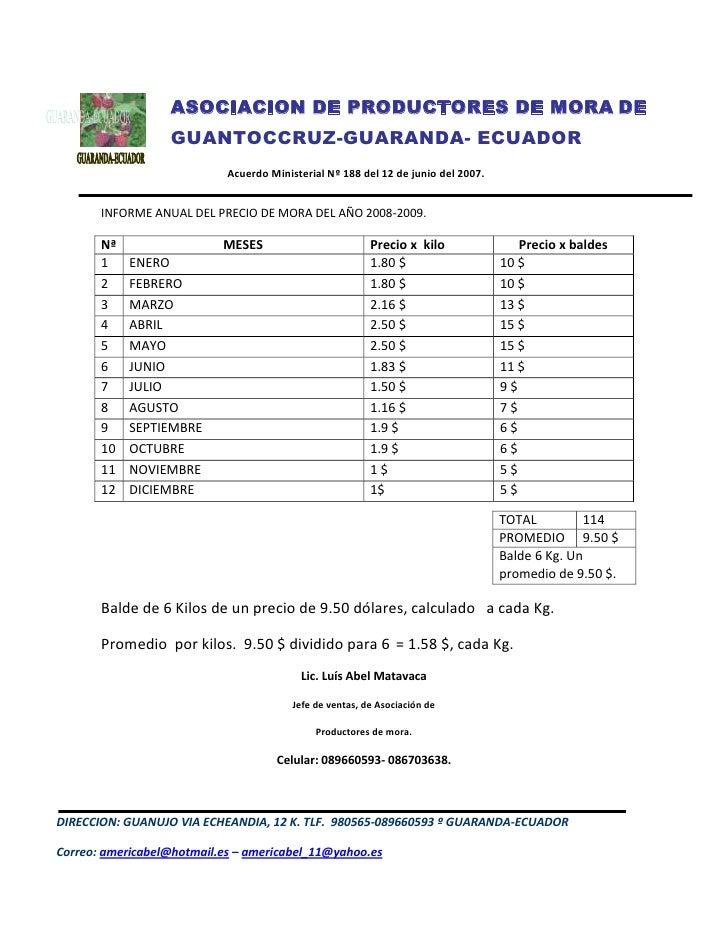 -222885103505ASOCIACION DE PRODUCTORES DE MORA DE GUANTOCCRUZ-GUARANDA- ECUADOR                     Acuerdo Ministerial Nº...