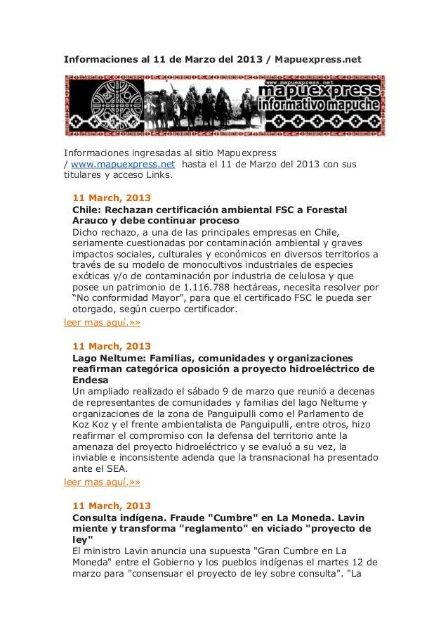 Informaciones al 11 de Marzo del 2013 / Mapuexpress.netInformaciones ingresadas al sitio Mapuexpress/ www.mapuexpress.net ...